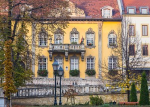 Budapest, Hungary - October 31, 2015: The outside of buildings in Budapest during the Autumn months showing the colourful design.