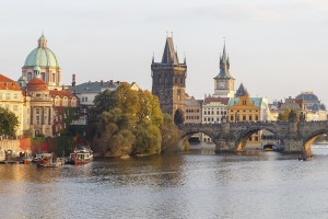 Prague, Czech Republic - October 3, 2014: View of Prague and the Vltava River Promenade. Excursions on the Vltava River on tourist ships.