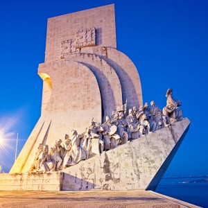 Lisbon, Portugal - June 30, 2010: Monument to the Discoveries by Portuguese architect Cottinelli Telmo and sculptor Leopoldo de Almeida (original artwork 1940 - rebuilt 1960) in Lisbon.