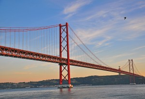 Bridge of 25th of April on sunset, Lisbon, Portugal