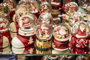 Vienna, Austria - November 16, 2014: Christmas themed snow globes on display at Vienna Christmas market.