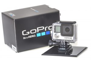 Piatra Neamt, Romania - December 15, 2014: New action camera from Gopro, Hero 4. It is a small photo & video camera manufactured by Gopro Inc. used as action camera.