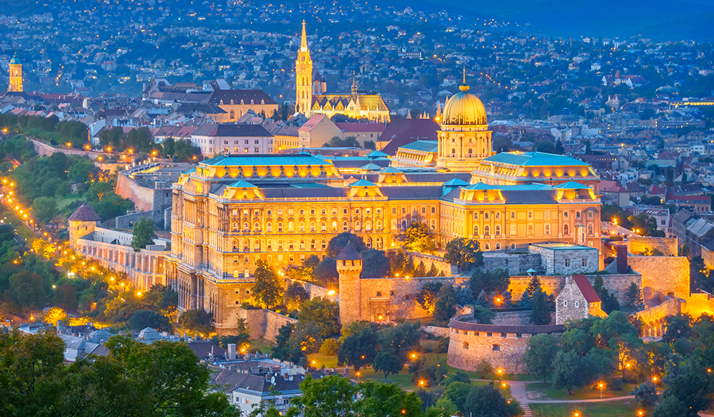 Budapest, Hungary - October 1, 2015: The landmark Buda Castle and the Castle District in Budapest, Hungary illuminated at twilight.
