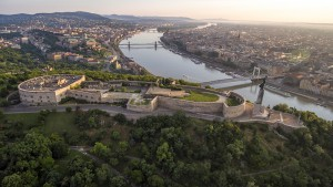 Aerial photo taken from a drone shows the Citadella fortress overlooking the Elizabeth bridge and the Danube river in the Hungarian capital, Budapest.