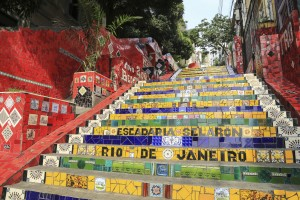 "Rio de Janeiro, Brazil - May, 3 2014: The world famous Tiled Steps Selaron at Lapa in Rio de Janeiro Brazil. It belongs to Chilean artist Jorge Selaron who declared it as ""my tribute to the Brazilian people""."
