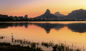 Beautiful View of Rio de Janeiro Sunset Behind Mountains at Rodrigo de Freitas Lake