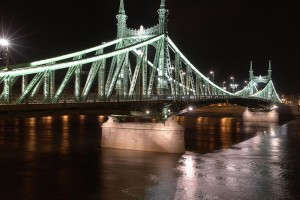 Danube River and Liberty Bridge by night. Liberty Bridge is the shortest bridge of Budapest.