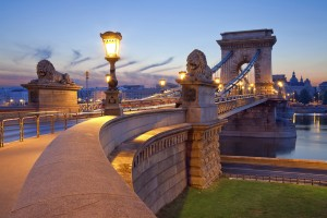 Image of Chain Bridge in Budapest during sunrise.