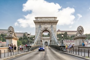 Budapest, Hungary - July 12, 2015: The Chain Bridge is a suspension bridge that spans the River Danube between Buda and Pest, the western and eastern sides of Budapest, the capital of Hungary.