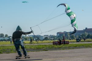 Berlin, Germany - October 3, 2013: Kite Surfers on the Tempelhof Airport