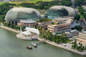 Singapore, Singapore - December 12, 2016: Aerial view of Esplanade theatre and out stage at Marina Bay, Singapore.It is a modern building for musical,art gallery and concert.