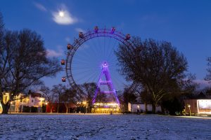 Vienna, Austria - January 21, 2016: A view of the Wiener Riesenrad when it is closed. Taken in the winter and snow can be seen.
