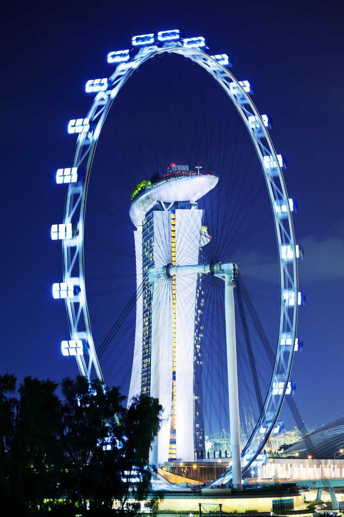 The famous ferris wheel (Flyer) at Marina bay in Singapore. Night shot.
