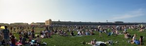 "Berlin, Germany - May 01, 2012: People at ""Tempelhofer Feld"", the former airport of Berlin-Tempelhof which is now a public park."