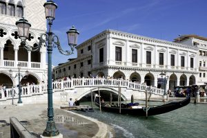 Venice, Italy - September 17, 2012: Tourists on the Straw bridge in Venice in Italy - Ponte della Paglia.